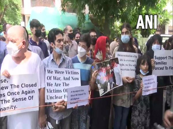 Afghan refugees protest outside UNHCR office in Delhi